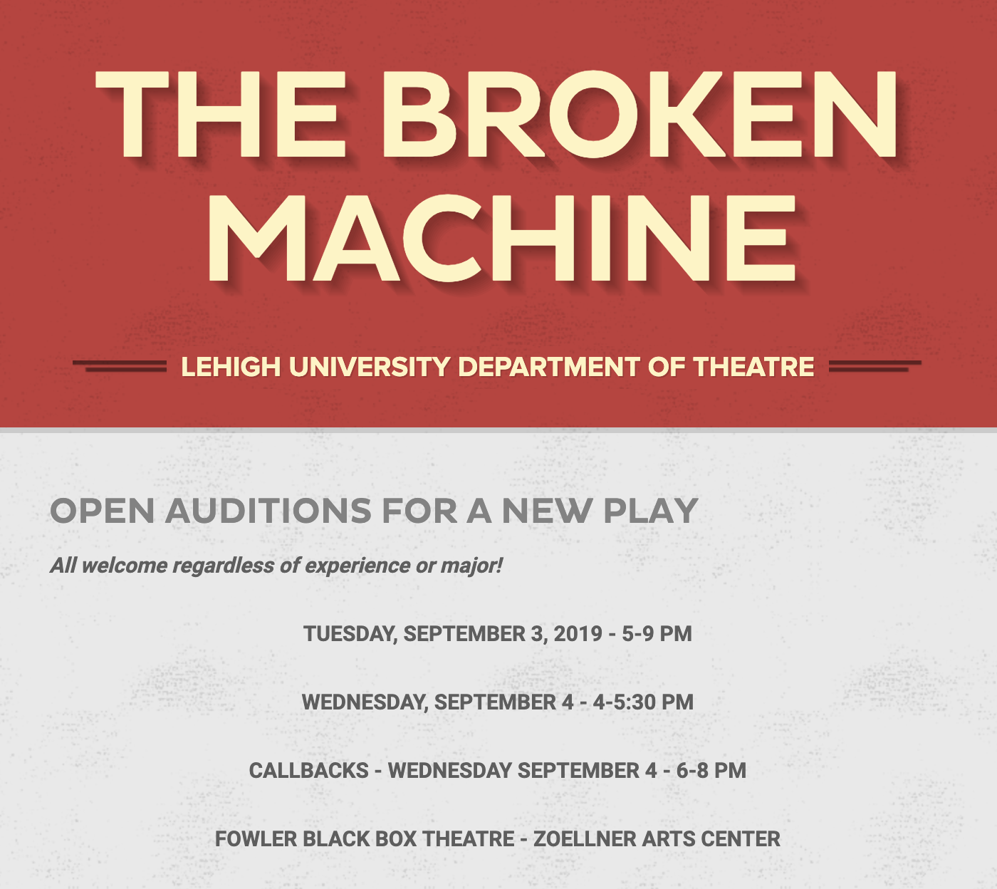 Open Auditions: The Broken Machine | Theatre Studies