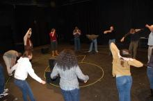 Lehigh University Theatre - Tectonic Workshop with Scott Barrow, practice before show