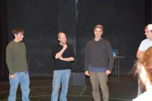 Lehigh University Theatre - Tectonic Workshop with Scott Barrow, men standing together