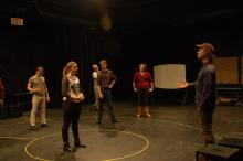 Lehigh University Theatre - Tectonic Workshop with Scott Barrow, woman in center of circle