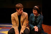 Lehigh University Theatre - The Shape of Things, man and woman talking