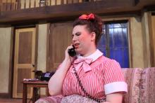 Lehigh University Theatre - Noises Off, woman on telephone