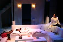 Lehigh University Theatre - The Clean House, woman sleeping on couch