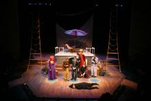 Lehigh University Theatre - Rosencrantz and Guildenstern are Dead, woman in black on floor
