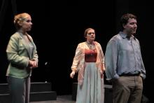 Lehigh University Theatre - Five Flights, man with back to two woman