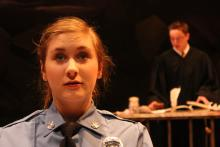 Lehigh University Theatre - The Last Days of Judas Iscariot, women police officer