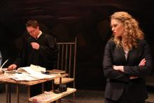 Lehigh University Theatre - The Last Days of Judas Iscariot, woman in black looking at man in black