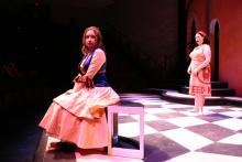 Lehigh University Theatre - The Country Wife, woman sitting on bench