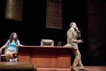 Lehigh University Theatre - Oleanna, man on phone