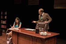 Lehigh University Theatre - Oleanna, man talking to girl