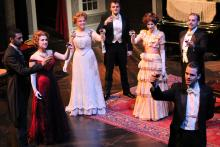 Lehigh University Theatre - The Little Foxes, cast holding up drinks