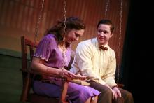 Lehigh University Theatre - The Last Train to Nibroc, woman and man on swing