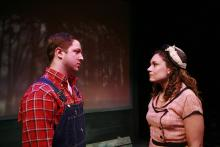 Lehigh University Theatre - The Last Train to Nibroc, woman and man talking