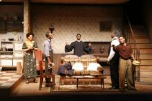 Lehigh University Theatre - The Piano Lesson, man talking behind couch